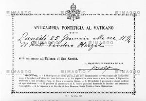 Herzls Einladungskarte zu einer Audienz mit Papst Pius X.
