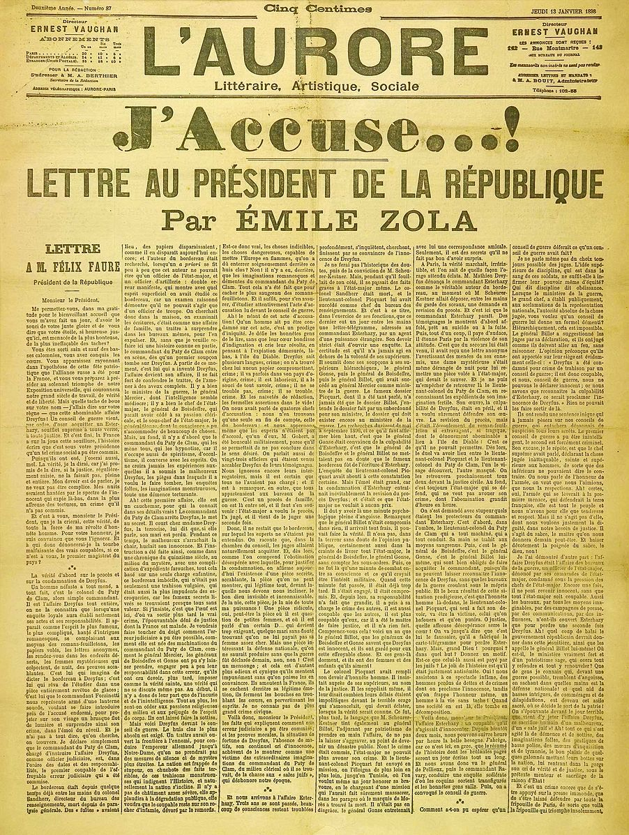 "13 January 1898 Émile Zola publishes open letter ""J'accuse ..."