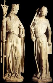 Statues from Strasbourg Cathedral (XIIIc), showing the allegorical figures of Ecclesia and Sinagoga.