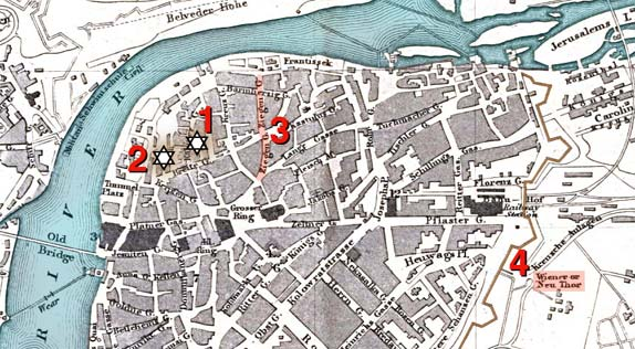 map of prague showsing the ghetto in 1858