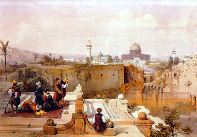 David-Roberts-The-mosque-of-Omar-at-Jerusalem-from-Mount-Moriah-Jerusalem-1839