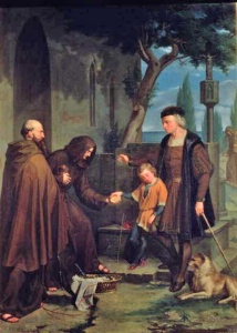 IND112775 Christopher Columbus at the gates of the monastery of Santa Maria de la Rabida with his son Diego, giving bread and water, 1858 (oil on canvas) by Mercade y Fabregas, Benito (1821-97) oil on canvas Prado, Madrid, Spain Index Spanish, out of copyright